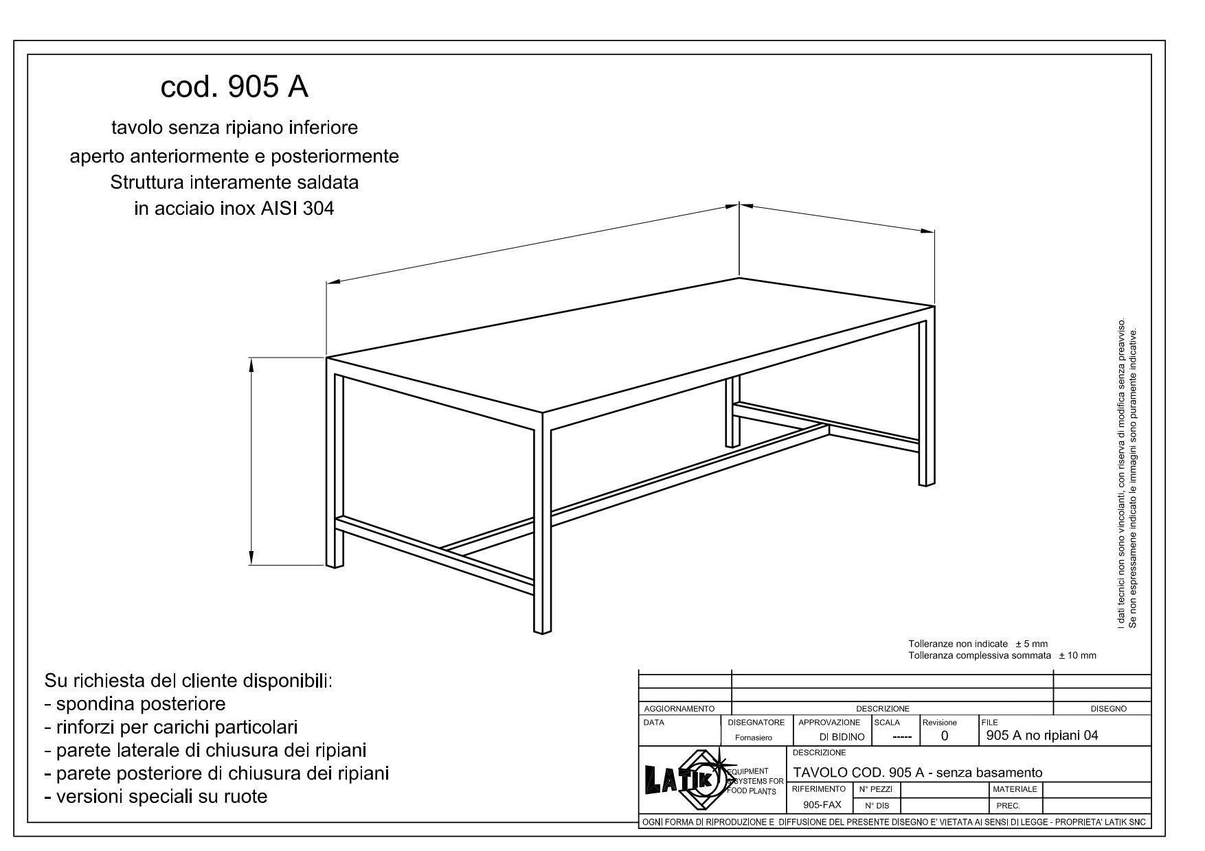 Tavolo in acciaio inox esecuzione su misura 905 A | LATIK
