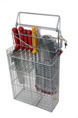 Cestino per portacoltelli in filo di acciaio inox Aisi 304 progettato per la pulizia