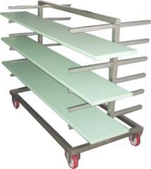 Carrello porta tavole smontabile in acciaio inox realizzabile su misura per industria alimentare