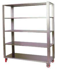 scaffalatura in acciaio inox realizzabile su misura con o senza ruote