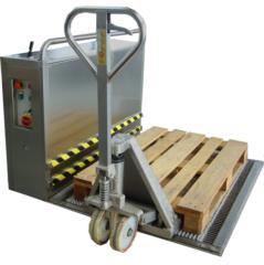 zerbino oscillante per pulizia bancali, ruote traspallet e carrelli